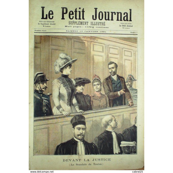 Petit journal-1891-  7-SCANDALE TOULON (83) MAIRE ARRETE, FOUROUX-G.DAVENET