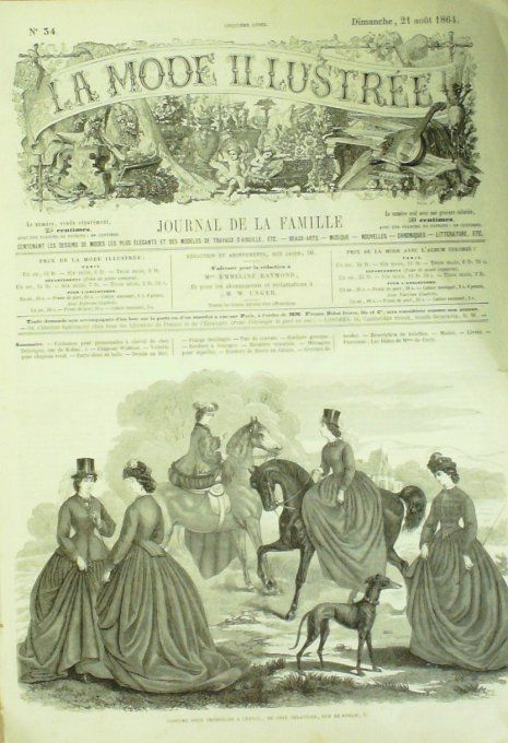 La MODE ILLUSTREE-1864/34-AMAZONES (Gravure + journal)
